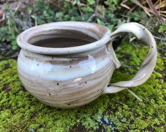 Marbled Clay Mug, Twisted Handle