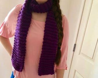 purple acrylic hand-knit scarf