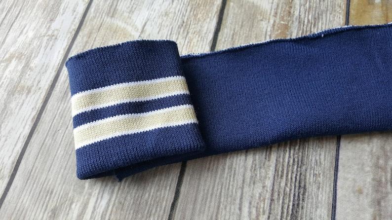 25e5d311b123 Striped knit cuff fabric . Light navy with tan . Rib knit   Etsy