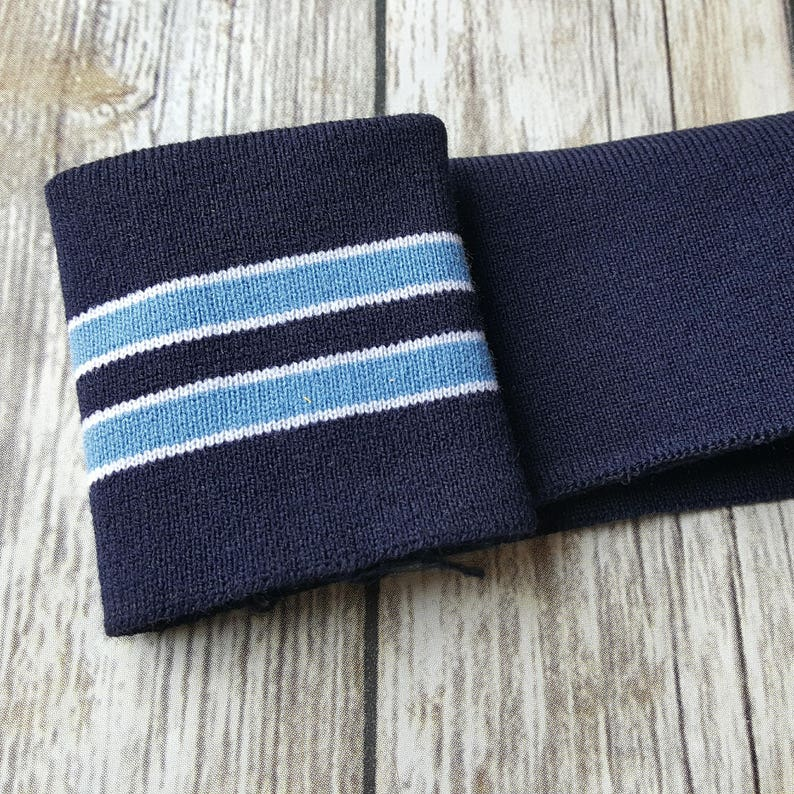 750a609ca6c7 Striped knit cuff fabric . Navy and light blue/white stripes .   Etsy