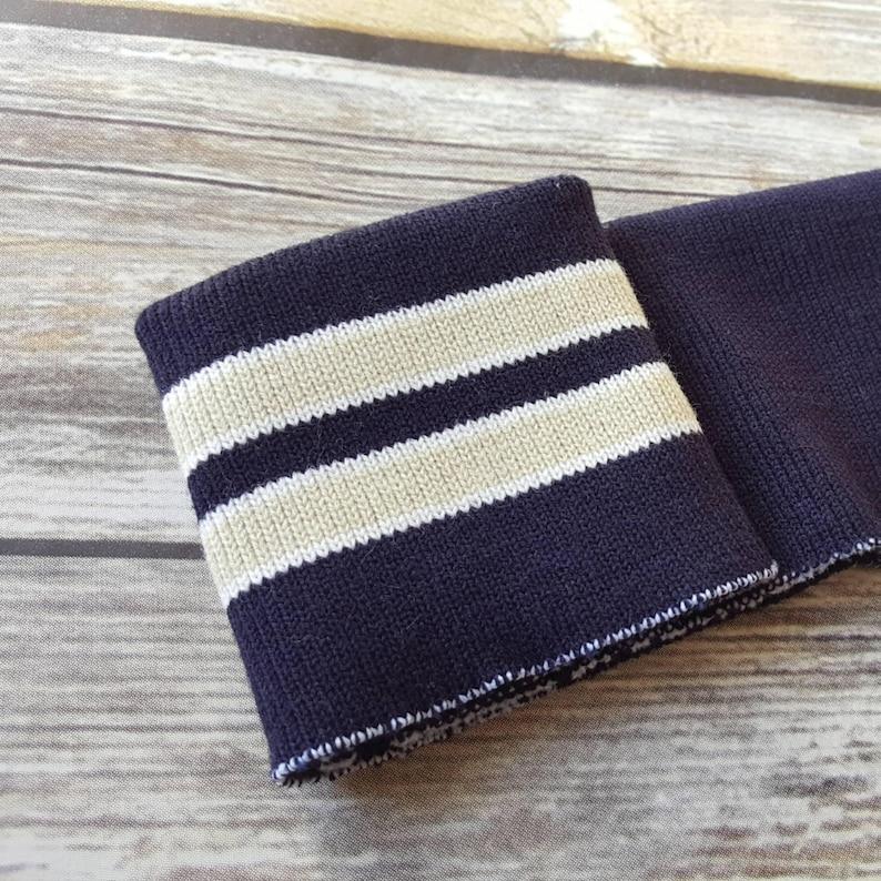 d293a2dd21e2 Striped knit cuff fabric . Navy with tan/white . Rib knit   Etsy