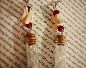 Bone and quartz vial earrings with real mink vertebrae
