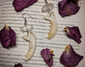 Jaw bone and quartz crystals earrings (mink mandible, available in clear and pastel pink)