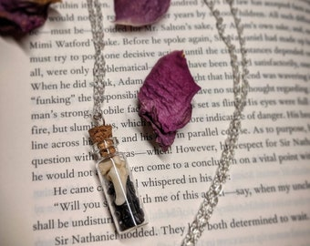 Real bone and blue goldstone fairy bottle necklace