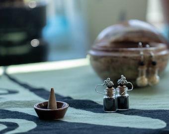 Black salt spell bottle earrings