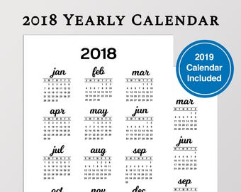 2018 year at a glance printable calendar in a5 size
