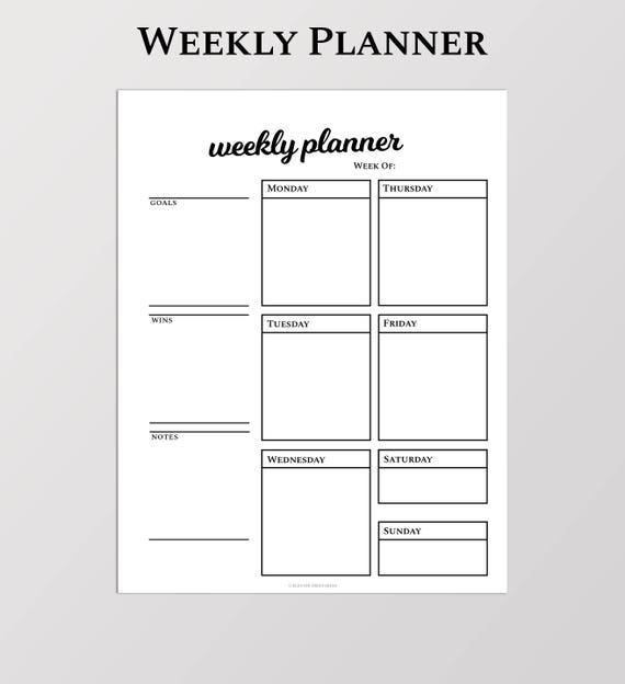 Weekly Agenda Planner Printable Weekly Planner A4 Size Etsy