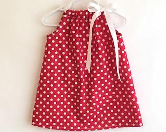 Red & White Polka Dot Dress, Pillowcase Dress, Red Girls Dress, New Baby Dress, Girls Easter Dress, Summer Dress