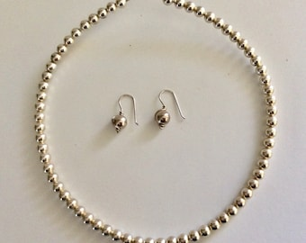 Sterling Bead Choker and Matching earrings