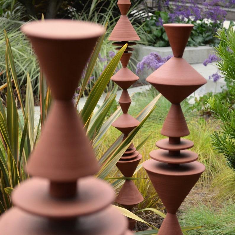 Garden Cones Ceramic Sculpture in Terra Cotta Stoneware  MADE image 0