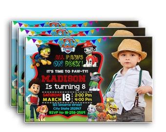 Paw Patrol InvitePaw InvitationPaw BirthdayPaw Party Birthday PartyPaw Invitation With Picture