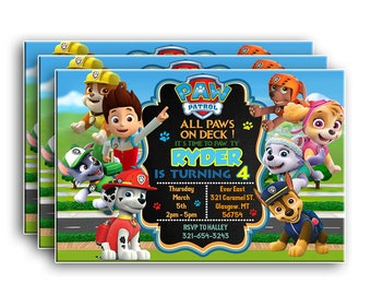 Paw Patrol InvitationPaw BirthdayPaw PartyPaw Birthday Invitation Printablesdigital File
