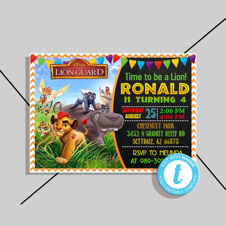 Lion King Invitation,Lion King Birthday,Lion King Birthday Invitation,Lion  King Birthday Party,Lion King Party edit with Templett