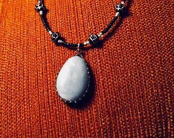 Blue Angelite Crystal Pendant Beaded Necklace
