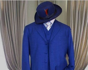 Authentic Mens ALBERTO NARDONI Royal Blue Color Zoot Suit Long Jacket 3 Piece