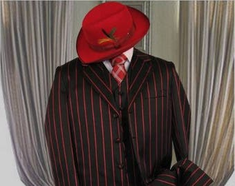 Authentic Mens ALBERTO NARDONI 1940s Style Black Red Stripe Color Zoot Suit Long Jacket 3 Piece