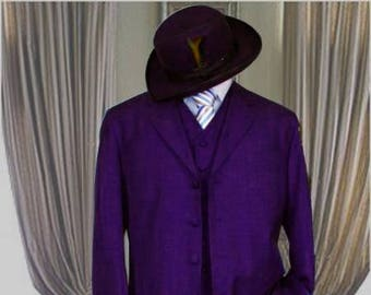 Authentic Mens ALBERTO NARDONI Purple Color Zoot Suit Long Jacket 3 Piece