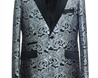 265641fa Alberto Nardoni Trendy Unique Prom Blazers Sparkly Floral Flower Two Toned  Grey Gray / Silver Black / White + Matching Bow Tie