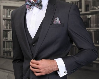 c5de6b8f01a7 Mens Formal Slim Fit Suits by Statement 3 Piece Charcoal Wool Lorenzo  Jacket Tux Tuxedo Blazer