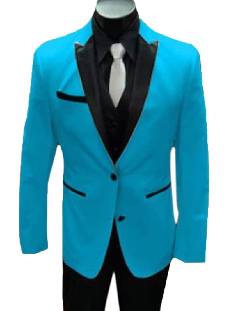 1970s Men's Suits History | Sport Coats & Tuxedos Mens Turquoise-Aqua Light Blue Tuxedo And Black Lapel Vested Suit With Black Vest By Alberto Nardoni Brand Designer $149.00 AT vintagedancer.com