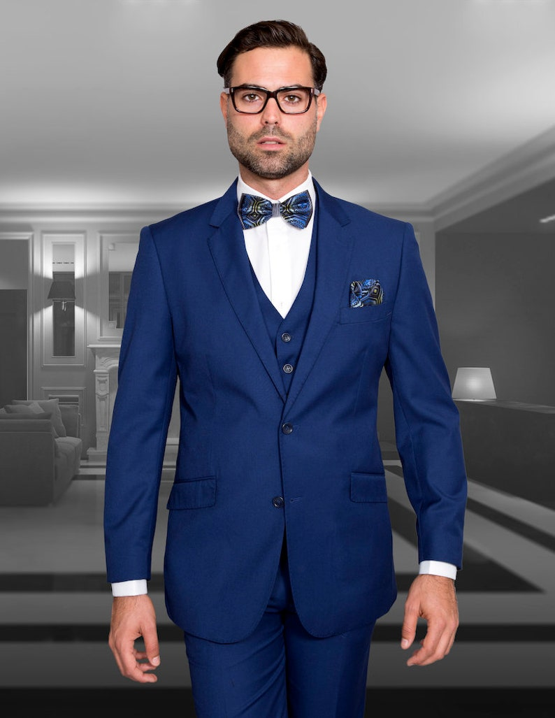 be82216562ae Mens Formal Slim Fit Suits by Statement 3 Piece Sapphire Blue | Etsy