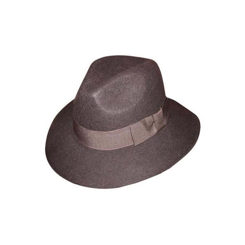 New Men/'s 100/% Wool Fedora Trilby Mobster Hat Brown