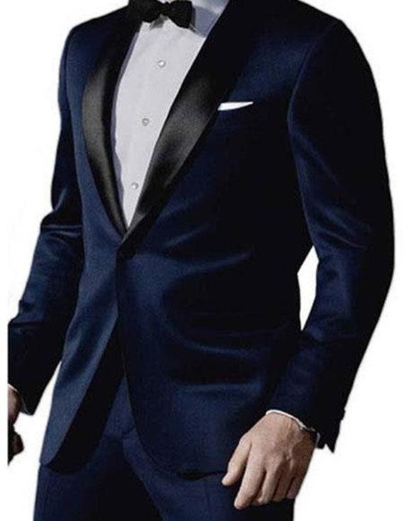 Mens Formal Fashion James Bond Satin Shawl Lapel 1 Button Midnight Navy Blue Tuxedo Suit