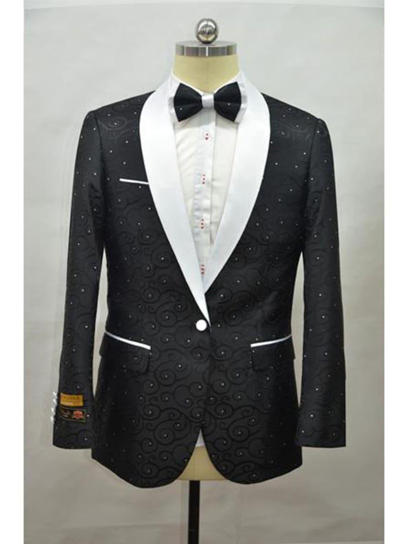 Men/'s Black White 2 Toned Paisley Floral Blazer Tuxedo Dinner Jacket By Alberto Nardoni Brand Designer