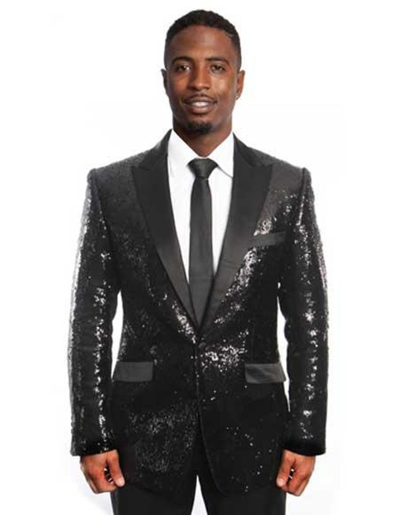 cfd87a6c88a Mens Black/Black Lapel Sequin Tuxedo / Dinner Jacket Peak image 0