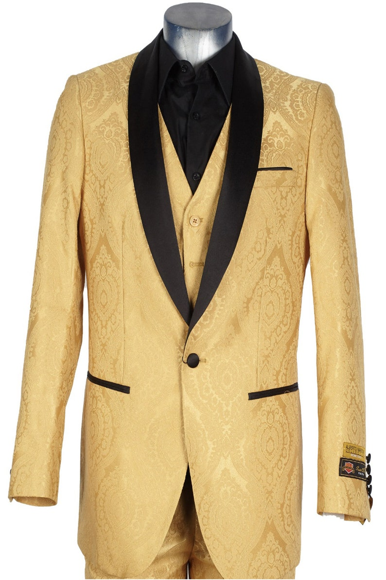 1970s Men's Suits History | Sport Coats & Tuxedos ALBERTO NARDONI Mens Gold Suit - Gold Tuxedo - Vest Jacket Pants $199.00 AT vintagedancer.com
