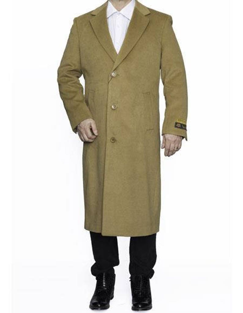 Authentic Mens ALBERTO NARDONI Full Length Camel Wool Overcoat Center Vent New