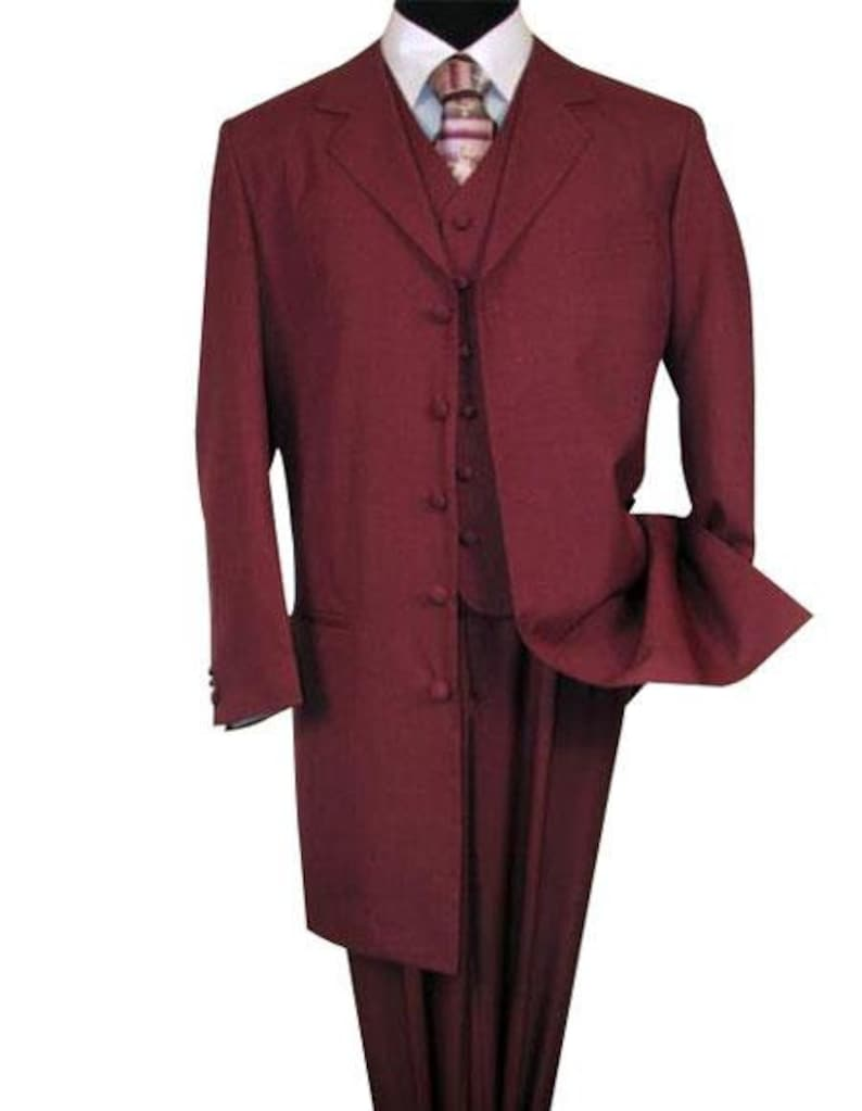 Burgundy ~ Maroon ~ Wine Color Fashion Three Piece Suit Long Jacket With Covered Button