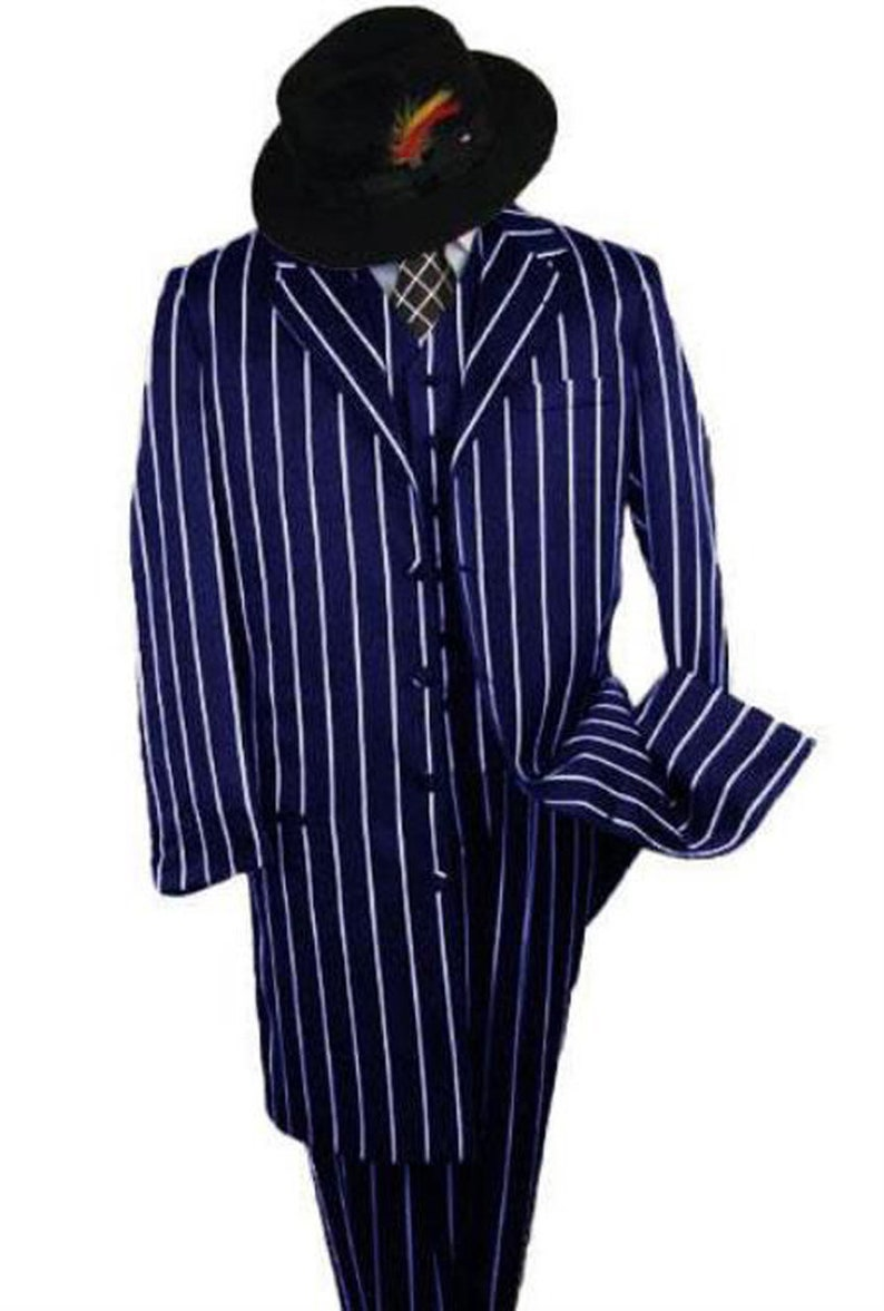 1940s Mens Suits | Gangster, Mobster, Zoot Suits ALBERTO NARDONI Gangster Suit - Navy Blue Pinstripe 1920s Styles - Long Fashion Zoot Suit + Matching Hat + Shirt And Tie Package $210.00 AT vintagedancer.com