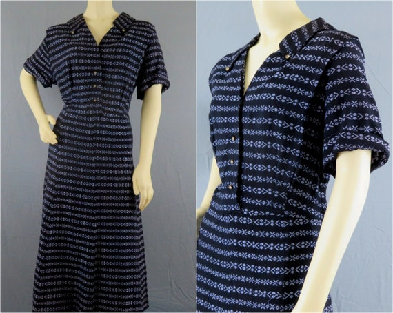 XXL Vintage 1940s 40s Dress | Navy Rayon Navajo st