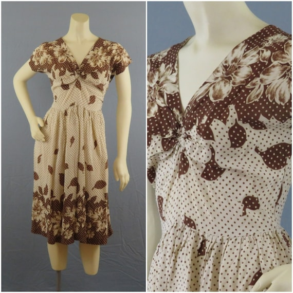 S 1940s Rayon Dress Polka Dot Floral Cream and Bro