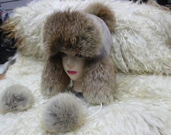 Children s Trapper Hat Fox Fur Ushanka Hat Baby Winter Ear Flap Hat Winter  Warm Hat Natural Fox Double Pom Poms Fox Bonnet Hat Russian Hat 249a60a64a8