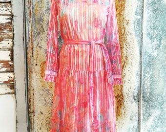 06cdd51907c Vintage 1970 Mary Martin Florida Pink Ruffle Sheer Dress Small to Medium  Date Night