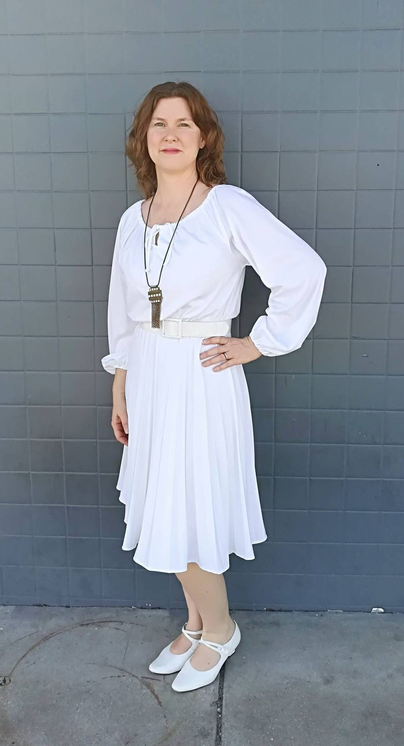 a0f5db1b9398b Vintage 1970 White Dress with pleated skirt and matching scarf | Etsy