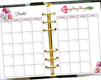 Planner Monthly Calendar, Undated Month on Two Pages, A5 Ring Insert, Printable Monthly Insert, Half Size Planner Refill, Filofax Pages