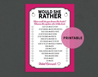 would she rather bachelorette game fun bridal shower activities printable pinkblack bridal shower bachelorette party printable