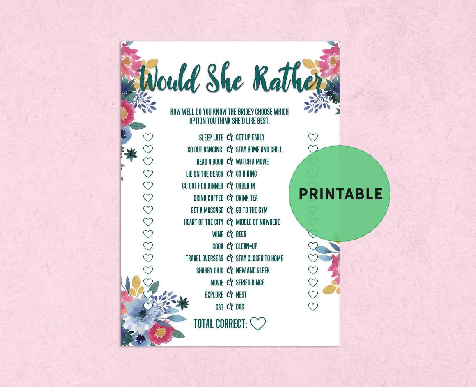 Floral Would She Rather Bachelorette Game fun bridal shower | Etsy
