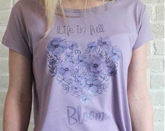 LIFE in FULL BLOOM t-shirt print graphic shirt tee women cute floral love 100% cotton new