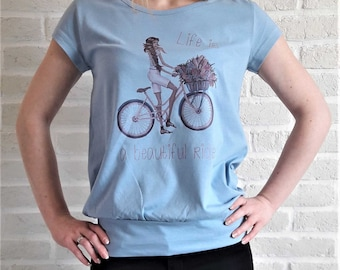 LIFE is a BEAUTIFUL RIDE t-shirt print graphic shirt tee women cute floral love 100% cotton new