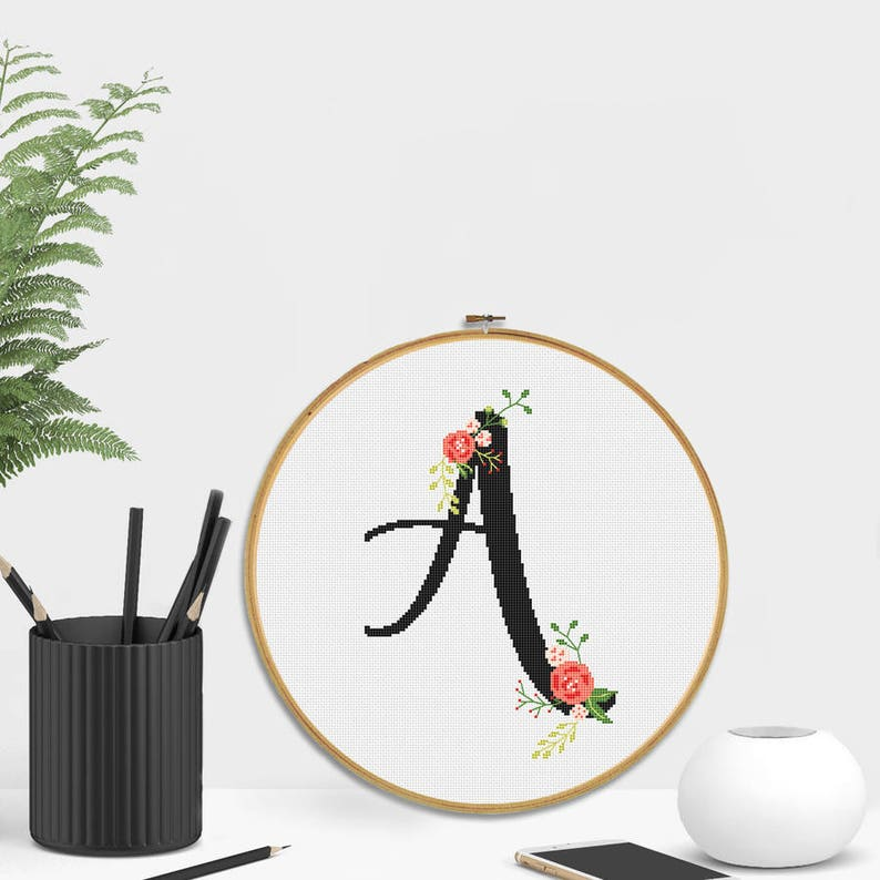 Initial embroidery hoop Custom gift Initial cross stitch Wall decor Personolised gift Custom Monogram Hand Embroidered hoop art