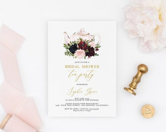 bridal shower tea party invitation template printable bridal tea shower invite bridal brunch 100 editable text instant download sophia