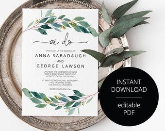 Greenery Outdoor Wedding Invitation Template, Printable Wedding Invitation, Rustic Wedding, Instant Download, Editable Invitation- Anna