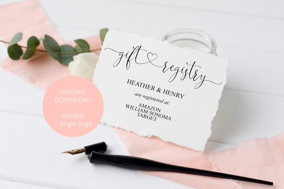 Wedding Gift Card Registry: Registry Card Template Gift Registry Wedding Template