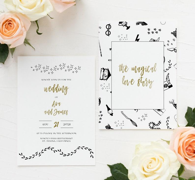 Wizard Wedding Invite RSVP Hogwarts Harry Potter Wedding Invitation Instant Download Harry Potter Invites Printable