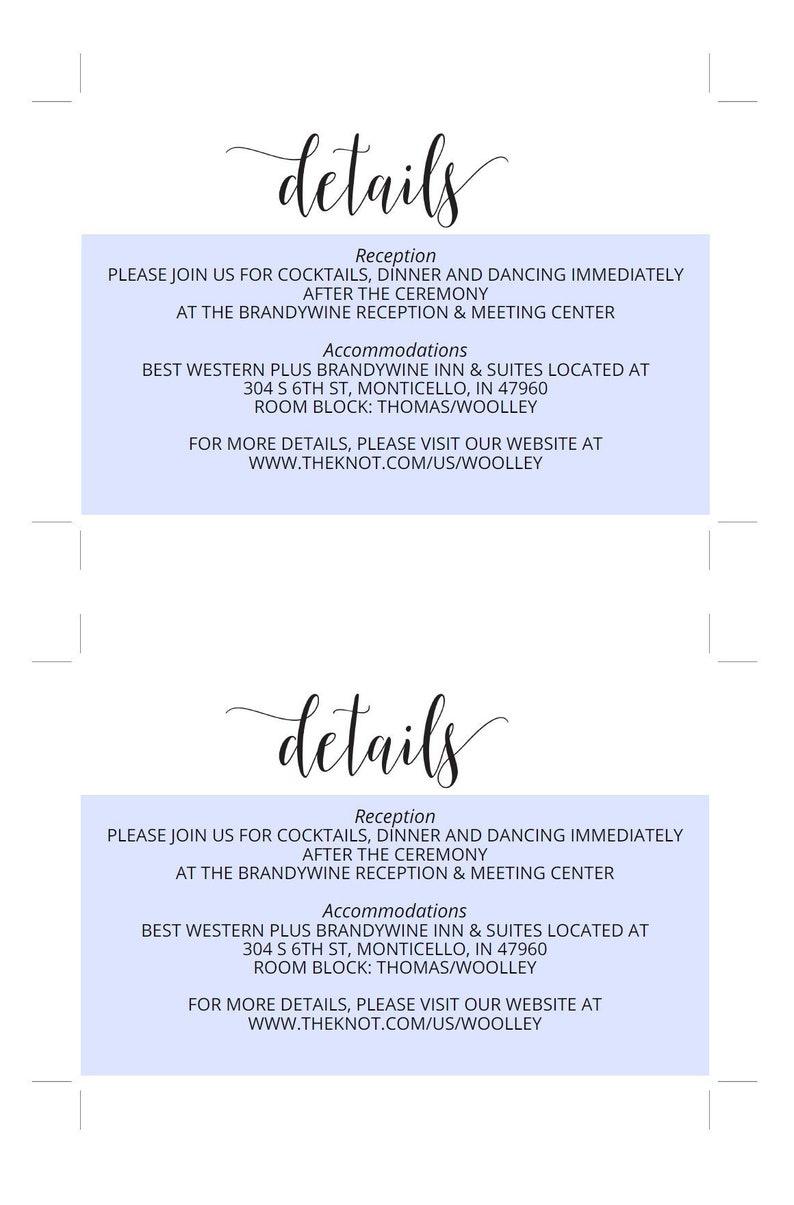 wedding details card template instant download information