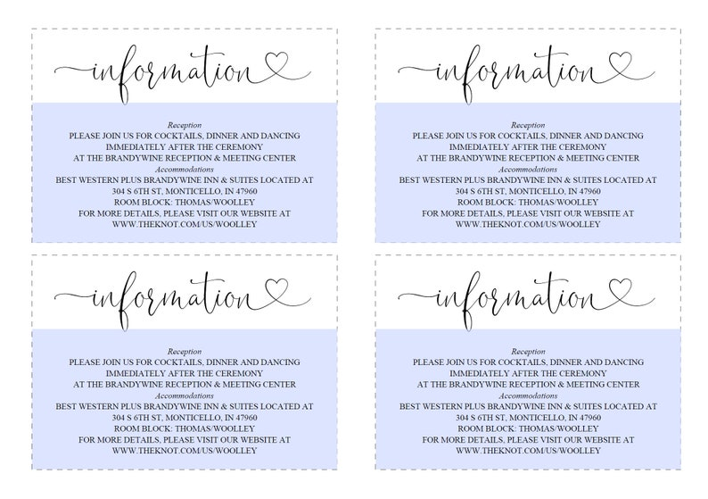 Heather Wedding Info Card Rustic Wedding Details Template Instant Download Information Card Wedding Details Card Template